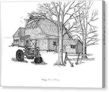 Canvas Print featuring the drawing Maple Tree Farm by Jack G  Brauer