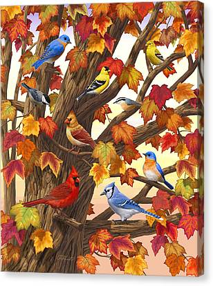 Finch Canvas Print - Maple Tree Marvel - Bird Painting by Crista Forest