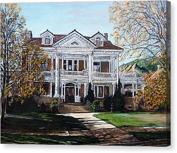 Canvas Print featuring the painting Mapleton Hill Homestead by Tom Roderick
