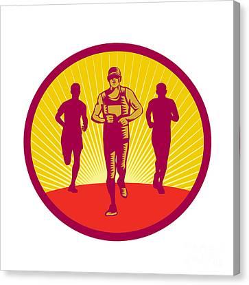 Marathon Runner Circle Woodcut Canvas Print