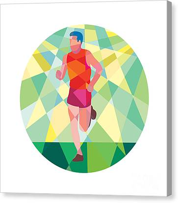 Marathon Runner Running Circle Low Polygon Canvas Print