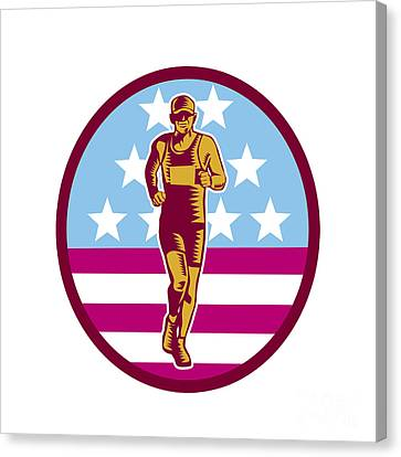 Marathon Runner Usa Flag Circle Woodcut Canvas Print