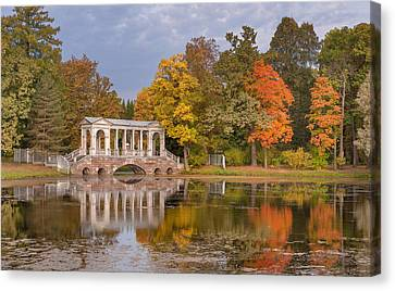 Marble Bridge At Catherine Park Canvas Print by Russian School