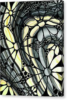 Botanical Canvas Print - Marbled - Gray And Yellow Flower Art By Sharon Cummings by Sharon Cummings
