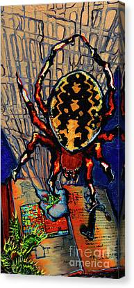 Marbled Orbweaver Canvas Print by Emily McLaughlin