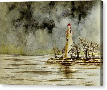 Marblehead Lighthouse In The Winter Canvas Print by Michael Vigliotti