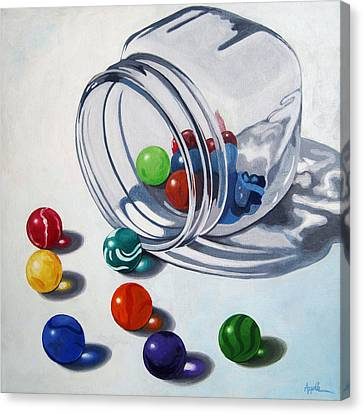 Marbles And Glass Jar Still Life Painting Canvas Print