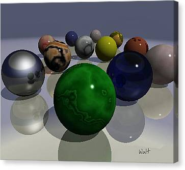 Canvas Print featuring the digital art Marbles by Walter Chamberlain