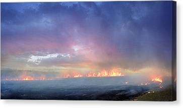 March Burning Of The Prairie Canvas Print by Rod Seel