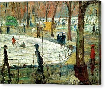 March Day Washington Square Canvas Print by William Glackens