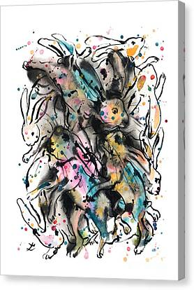 March Hare Canvas Print - March Hares by Zaira Dzhaubaeva