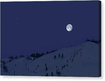 Canvas Print featuring the photograph March Moon With Jupiter by Donna Kennedy