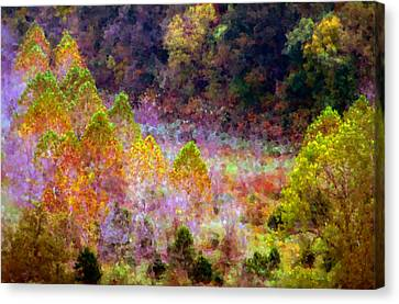 Seurat Canvas Print - March Of The Golden Trees by Jim Murphy