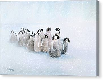 Canvas Print featuring the digital art March Of The Penguins by Thanh Thuy Nguyen