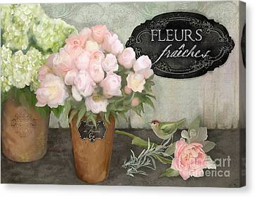 Canvas Print featuring the painting Marche Aux Fleurs 2 - Peonies N Hydrangeas W Bird by Audrey Jeanne Roberts