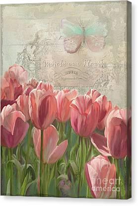 Marche Aux Fleurs 3 - Butterfly N Tulips Canvas Print by Audrey Jeanne Roberts