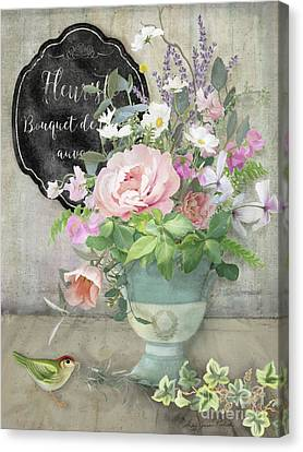Marche Aux Fleurs 3 Peony Tulips Sweet Peas Lavender And Bird Canvas Print by Audrey Jeanne Roberts