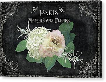Canvas Print featuring the painting Marche Aux Fleurs 4 Vintage Style Typography Art by Audrey Jeanne Roberts