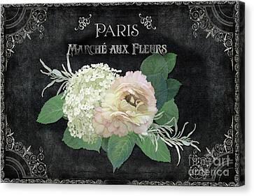 Marche Aux Fleurs 4 Vintage Style Typography Art Canvas Print by Audrey Jeanne Roberts