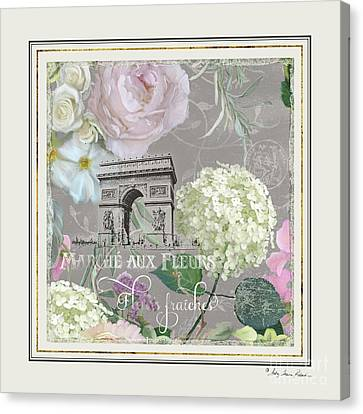 Canvas Print featuring the painting Marche Aux Fleurs Vintage Paris Arc De Triomphe by Audrey Jeanne Roberts
