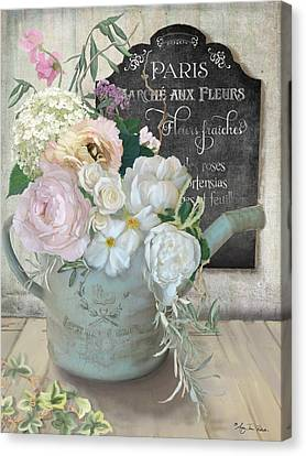 Canvas Print featuring the painting Marche Paris Fleur Vintage Watering Can With Peonies by Audrey Jeanne Roberts