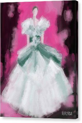 Marchesa Grey Dress Fashion Illustration Canvas Print by Beverly Brown