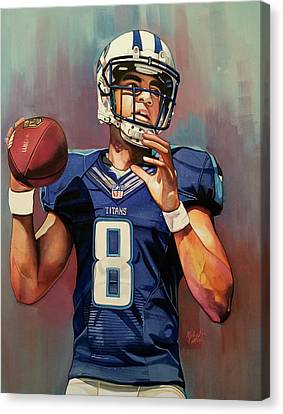 Marcus Mariota Rookie Year - Tennessee Titans Canvas Print by Michael Pattison