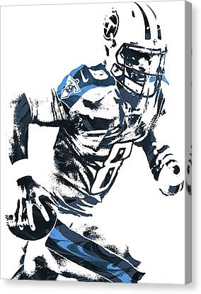 Canvas Print featuring the mixed media Marcus Mariota Tennesse Titans Pixel Art 2 by Joe Hamilton