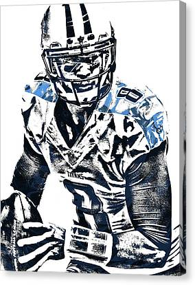 Marcus Mariota Tennessee Titans Pixel Art 3 Canvas Print by Joe Hamilton