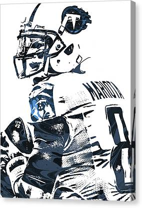 Canvas Print featuring the mixed media Marcus Mariota Tennessee Titans Pixel Art by Joe Hamilton