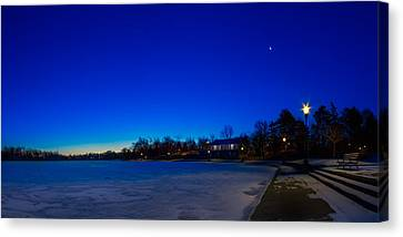 Canvas Print featuring the photograph Marcy Casino Winter Twilight by Chris Bordeleau