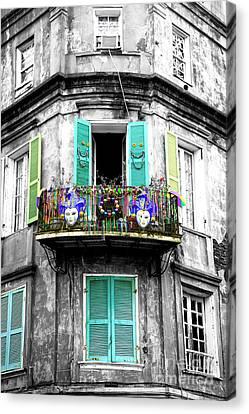 Nola Canvas Print - Mardi Gras Balcony Fusion by John Rizzuto