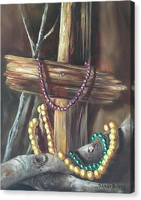 Canvas Print featuring the painting Mardi Gras Beads And Hurricane Katrina by Randol Burns