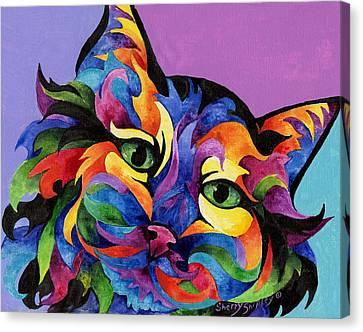Mardi Gras Cat Canvas Print by Sherry Shipley