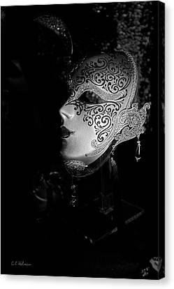 Mardi Gras Mask  B-w Canvas Print by Christopher Holmes