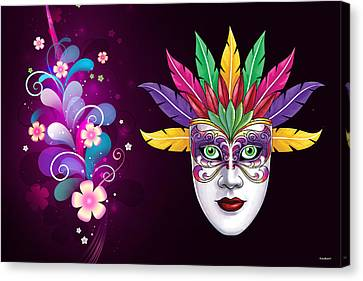 Canvas Print featuring the photograph Mardi Gras Mask On Floral Background by Gary Crockett