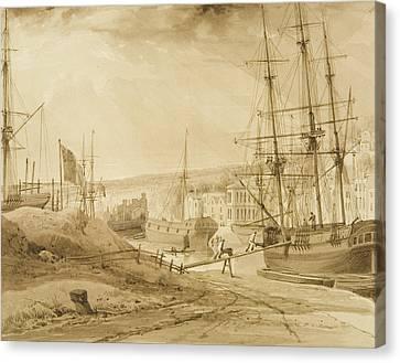Mardyke Seen From Near Hilhouse's Dock Canvas Print by Thomas Leeson the Elder Rowbotham