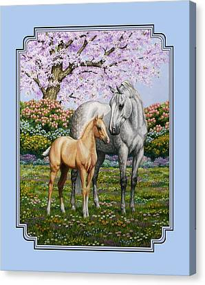 Grey Horse Canvas Print - Mare And Foal Pillow Blue by Crista Forest