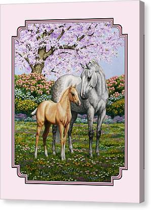 Mare And Foal Pillow Pink Canvas Print by Crista Forest