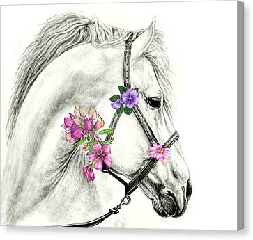 Mare With Flowers Canvas Print by Heidi Kriel