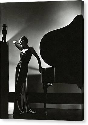 Living-room Canvas Print - Margaret Horan Posing Beside A Piano by Edward Steichen