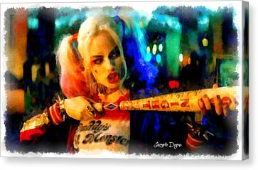 Margot Robbie Playing Harley Quinn  - Aquarell Style -  - Da Canvas Print by Leonardo Digenio