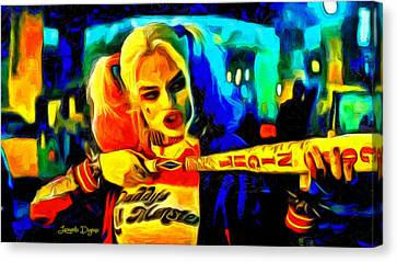Margot Robbie Playing Harley Quinn  - Van Gogh Style -  - Da Canvas Print