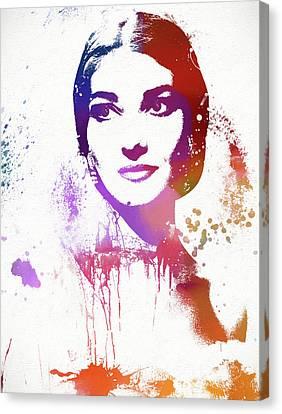 Maria Callas Paint Splatter Canvas Print