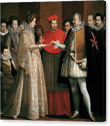 Maria De Medici's Marriage By Proxy With Henry Iv Of France Represented By Ferdinand I Of Tuscany  Canvas Print by Jacopo Da Empoli