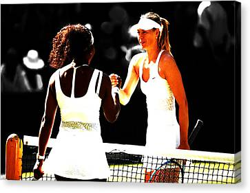 Maria Sharapova And Serena Williams Rivalry Canvas Print by Brian Reaves