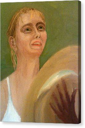 Maria Sharapova Canvas Print - Maria Sharapova In Light Reflected From The Wimbledon Trophy by Peter Gartner
