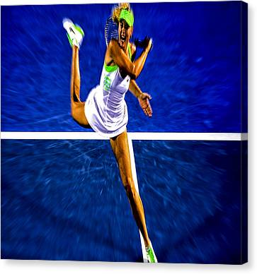 Maria Sharapova In Motion Canvas Print by Brian Reaves