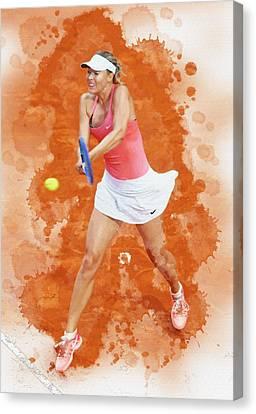 Maria Sharapova Canvas Print - Maria Sharapova Of Russia Celebrates After Winning by Don Kuing