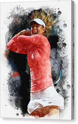 Maria Sharapova Of Russia In Action Canvas Print by Don Kuing